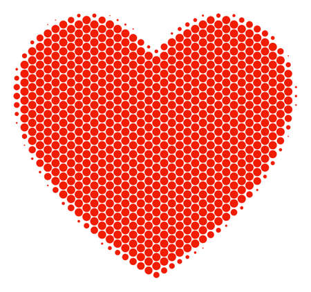 Halftone circle Love Heart icon. Pictogram on a white background. Vector collage of love heart icon composed of spheric dots. Illustration