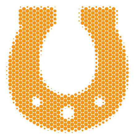Halftone round spot Horseshoe icon. Pictogram on a white background. Vector collage of horseshoe icon designed of sphere pixels.