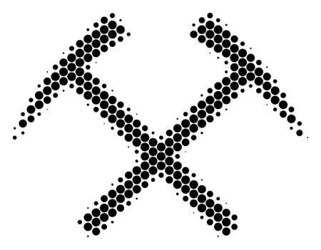 Halftone round spot Mining Hammers icon. Pictogram on a white background. Vector composition of mining hammers icon organized of round items. Stock Photo