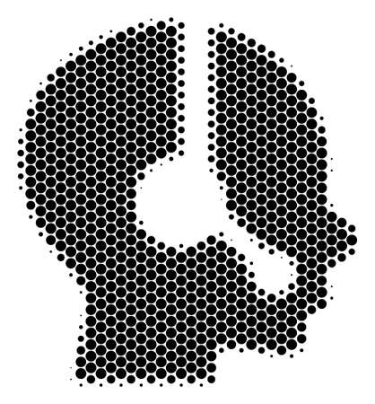 Halftone dot Operator icon. Pictogram on a white background. Vector concept of operator icon designed of spheric elements.