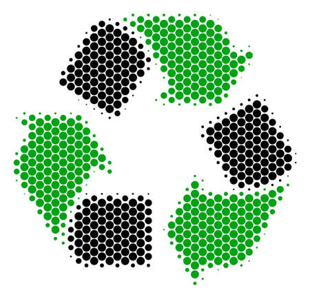 Halftone dot Recycle Arrows icon. Pictogram on a white background. Vector concept of recycle arrows icon created of spheric spots.