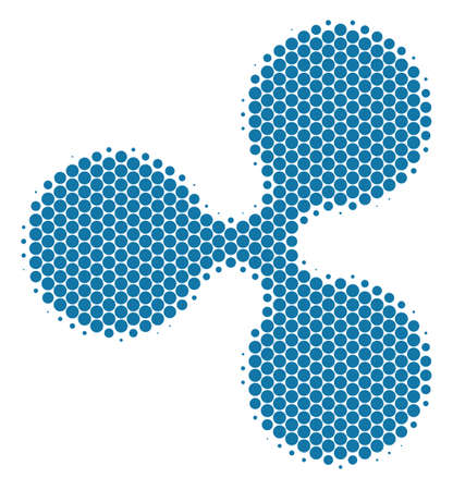 Halftone dot Ripple Currency icon. Pictogram on a white background. Vector composition of ripple currency icon organized of sphere elements. Illustration