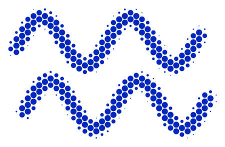 Halftone round spot Sinusoid Waves icon. Pictogram on a white background. Vector concept of sinusoid waves icon organized of circle spots.