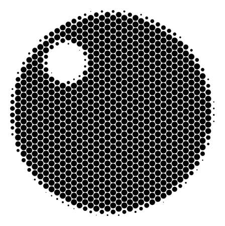 Halftone round spot Sphere icon. Pictogram on a white background. Vector composition of sphere icon constructed of spheric pixels.