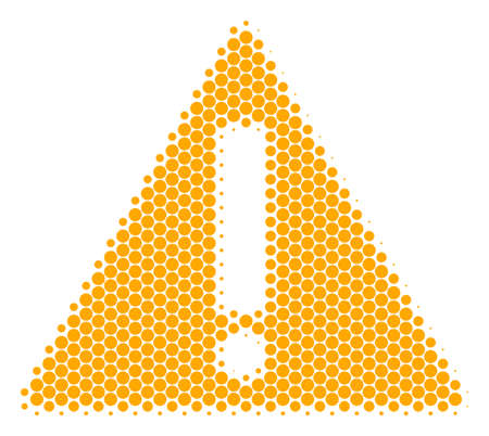 Halftone dot Warning icon. Pictogram on a white background. Vector mosaic of warning icon combined of sphere dots.
