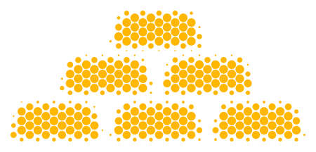 Halftone circle Treasure Bricks icon. Pictogram on a white background. Vector concept of treasure bricks icon designed of circle pixels.