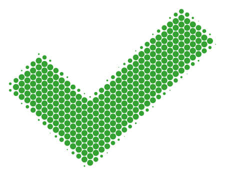 Halftone dot Yes icon. Pictogram on a white background. Vector pattern of yes icon combined of round blots.