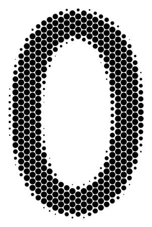 Halftone round spot zero digit icon. Pictogram on a white background vector collage of zero digit icon organized of sphere pixels. Иллюстрация