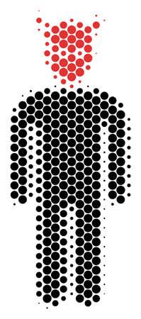 Halftone round spot Daemon icon. Pictogram on a white background. Vector pattern of daemon icon designed of sphere spots. Banco de Imagens