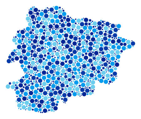 Andorra Map mosaic of circle elements in different sizes and blue shades.