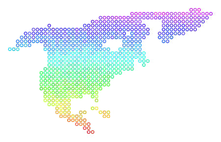 Spectral North America Map. Vector geographic map in bright spectral color shades. Spectrum has vertical gradient. Multicolored vector concept of North America Map designed of circle bubbles.