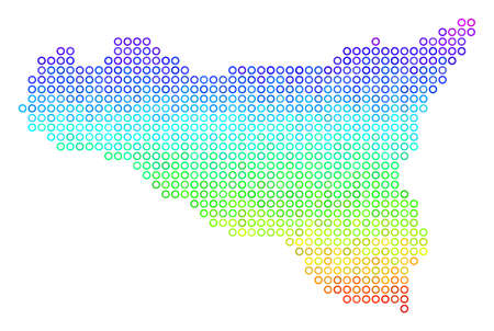 Spectrum Sicilia Map. Vector geographic map in bright rainbow color hues. Spectrum has vertical gradient. Multicolored vector collage of Sicilia Map made of spheric particles.