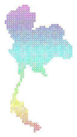 Spectrum Thailand Map. Vector geographic map in bright spectral color hues. Spectrum has vertical gradient. Color vector mosaic of Thailand Map designed of small spheres.