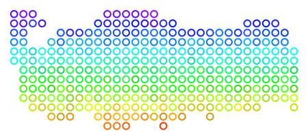 Spectrum Turkey Map. Vector geographic map in bright spectrum color color tints. Spectrum has vertical gradient. Colored vector composition of Turkey Map done of small circles.