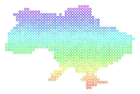 Spectral Ukraine Map With Crimea. Vector geographic map in bright spectrum color tinges. Spectrum has vertical gradient. Color vector concept of Ukraine Map With Crimea done of circle elements.