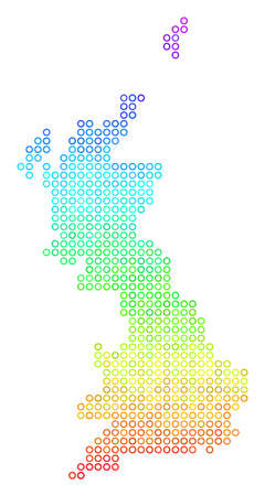 Spectrum Great Britain Map. Vector geographic map in bright rainbow color shades. Spectrum has vertical gradient. Color vector composition of Great Britain Map made of small spheres. Illustration