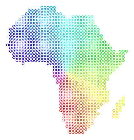 Spectrum Africa Map. Vector geographic map in bright spectrum color tinges. Spectrum has circular gradient. Colorful vector pattern of Africa Map created of small spheres.