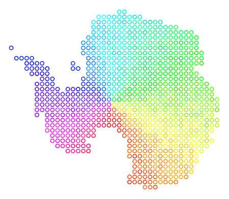Spectrum Antarctica Map. Vector geographic map in bright spectrum color shades. Spectrum has circular gradient. Color vector pattern of Antarctica Map constructed of circle bubbles.