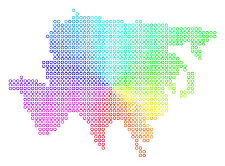 Spectrum Asia Map. Vector geographic map in bright rainbow color tones. Spectrum has circular gradient. Colorful vector concept of Asia Map combined of spherical particles.