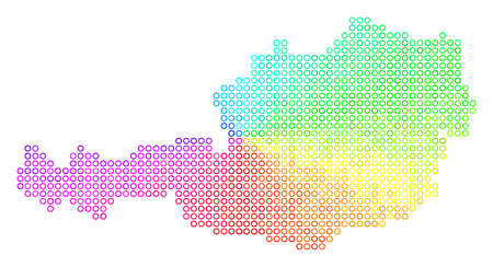 Spectrum Austria Map. Vector geographic map in bright spectral color hues. Spectrum has circular gradient. Multicolored vector mosaic of Austria Map composed of small circles.
