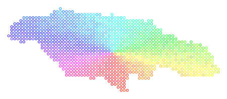 Spectral Jamaica Map. Vector geographic map in bright spectrum color tones. Spectrum has circular gradient. Color vector pattern of Jamaica Map made of circle bubbles.
