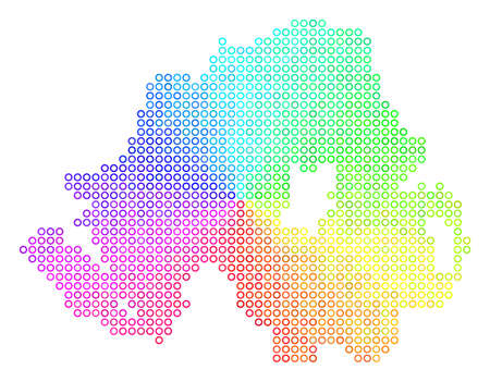 Spectral Northern Ireland Map. Vector geographic map in bright spectrum color tinges. Spectrum has circular gradient. Bright vector concept of Northern Ireland Map organized of spheric particles. Illustration