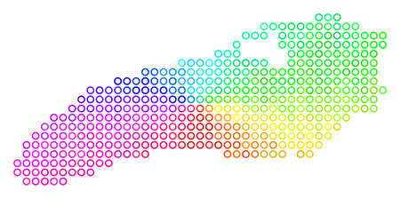 Spectral Ontario Lake Map. Vector geographic map in bright rainbow color tinges. Spectrum has circular gradient. Colorful vector composition of Ontario Lake Map done of circle elements. Illustration