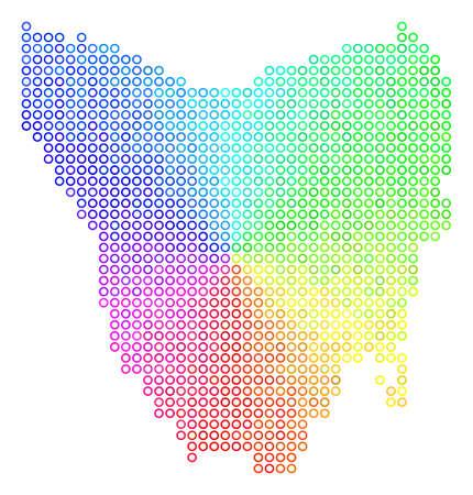 Spectrum Tasmania Island Map. Vector geographic map in bright rainbow color shades. Spectrum has circular gradient. Multicolored vector mosaic of Tasmania Island Map done of circle elements. Illustration