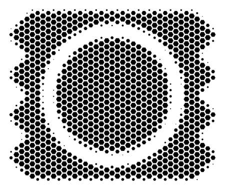 Halftone hexagon Condom Package icon. Pictogram on a white background. Vector mosaic of condom package icon made of hexagon blots.