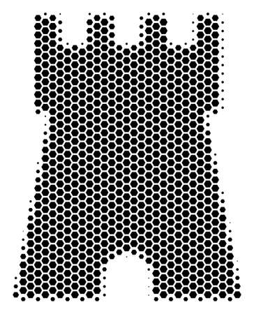 Halftone hexagonal Bulwark Tower icon. Pictogram on a white background. Vector concept of bulwark tower icon combined of hexagonal pixels.