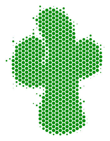 Halftone hexagonal Cacti icon. Pictogram on a white background. Vector composition of cacti icon done of hexagonal spots.