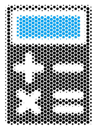 Halftone hexagon Calculator icon. Pictogram on a white background. Vector mosaic of calculator icon constructed of hexagonal blots.