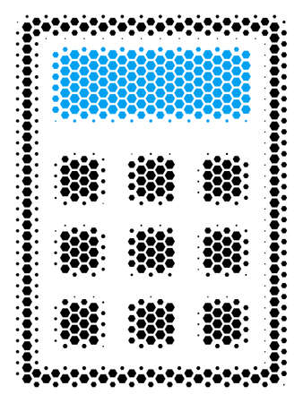Halftone hexagon Calculator icon. Pictogram on a white background. Vector collage of calculator icon combined of hexagon dots. Illustration