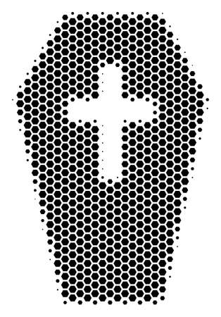 Halftone hexagonal Coffin icon. Pictogram on a white background. Vector mosaic of coffin icon constructed of hexagonal items.