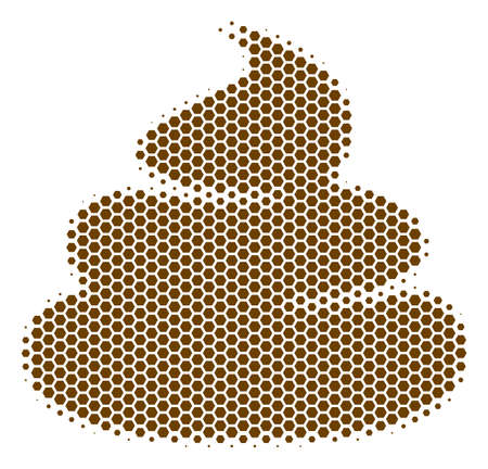 Halftone hexagon Crap icon. Pictogram on a white background. Vector concept of crap icon constructed of hexagon elements. Illustration