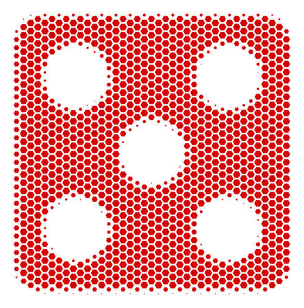 Halftone hexagon Dice icon. Pictogram on a white background. Vector composition of dice icon created of hexagonal pixels. Illustration