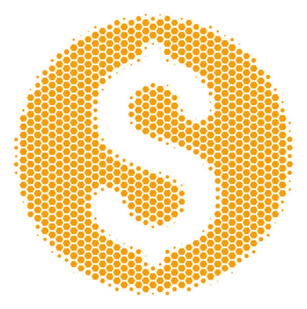 Halftone hexagonal Dollar Coin icon. Pictogram on a white background. Vector pattern of dollar coin icon created of hexagonal spots. Illustration
