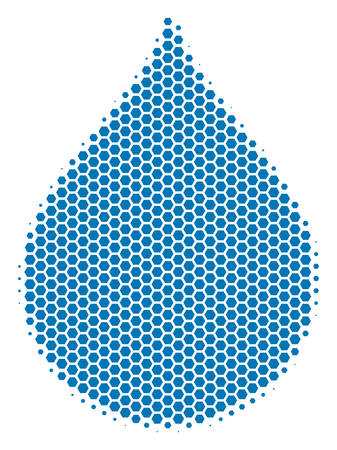 Halftone hexagonal Drop icon. Pictogram on a white background. Vector mosaic of drop icon composed of hexagonal blots.