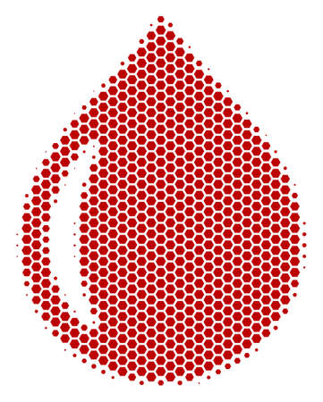 Halftone hexagonal Drop icon. Pictogram on a white background. Vector collage of drop icon composed of hexagon blots.