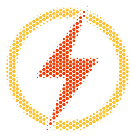 Halftone hexagon Electric Power icon. Pictogram on a white background. Vector concept of electric power icon designed of hexagon dots.