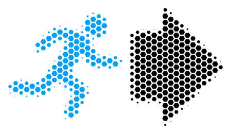 Halftone hexagonal Exit Direction icon. Pictogram on a white background. Vector mosaic of exit direction icon combined of hexagon blots.