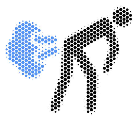 Halftone hexagonal Fart Gases icon. Pictogram on a white background. Vector collage of fart gases icon organized of hexagonal elements. Stock fotó - 100293012
