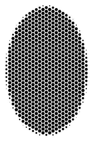 Halftone hexagon Filled Ellipse icon. Pictogram on a white background. Vector composition of filled ellipse icon combined of hexagon blots.