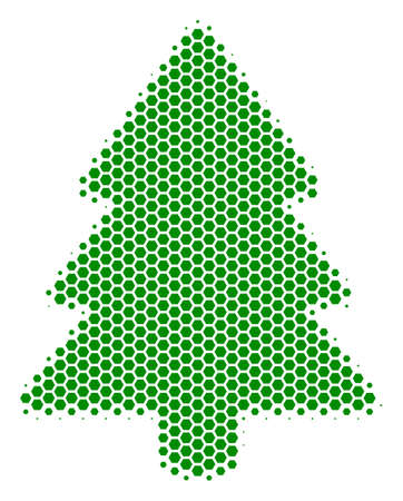 Halftone hexagon Fir-Tree icon. Pictogram on a white background. Vector pattern of fir-tree icon designed of hexagonal blots. 免版税图像 - 100294786