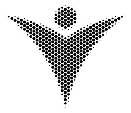 Halftone hexagon Futuristic Man icon. Pictogram on a white background. Vector concept of futuristic man icon designed of hexagonal elements.