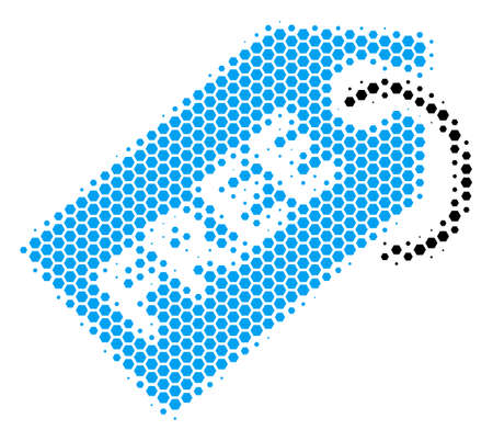 Halftone hexagonal Free Tag icon. Pictogram on a white background. Vector composition of free tag icon designed of hexagon elements.