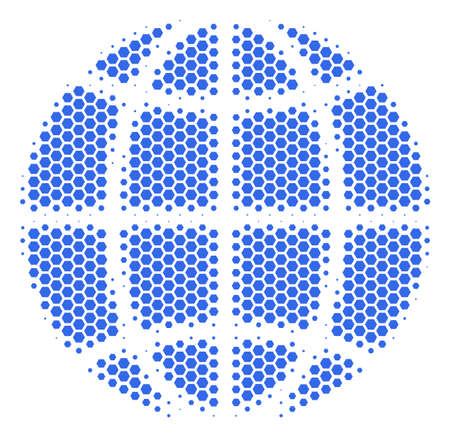 Halftone hexagon Globe icon. Pictogram on a white background. Vector mosaic of globe icon created of hexagon dots.