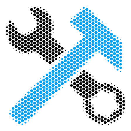 Halftone hexagon Hammer And Wrench icon. Pictogram on a white background. Vector concept of hammer and wrench icon composed of hexagonal blots.