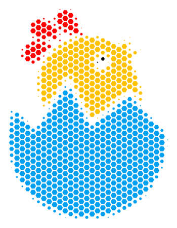 Halftone hexagon Hatch Chick icon. Pictogram on a white background. Vector composition of hatch chick icon done of hexagonal pixels.  イラスト・ベクター素材