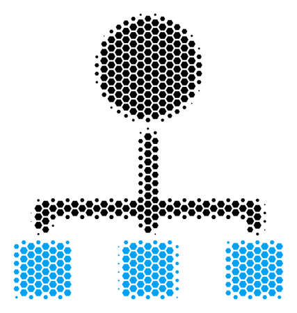 Halftone hexagonal Hierarchy icon. Pictogram on a white background. Vector pattern of hierarchy icon created of hexagon items.